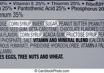 Sugar ingredients - Closeup of ingredients list of granola...