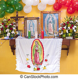 Altar to the Virgin - Beautifully decorated altar with...