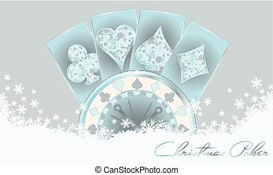 Christmas poker greeting card, vector illustration