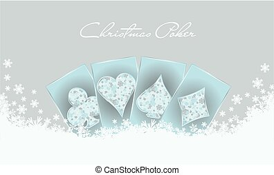 Christmas poker invitation card, vector illustration
