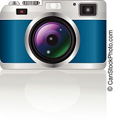 retro camera on a white background with shadow