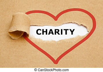 Charity Torn Paper - Charity appearing behind torn brown...