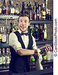 bartender - young man working as a bartender in a nightclub...