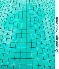 Teal color grid taken from the side of a skyscraper