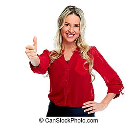 Happy business woman - Happy business woman isolated on...