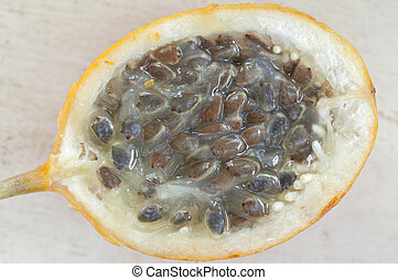 Granadilla fruit inside - Macro closeup of cut in half...