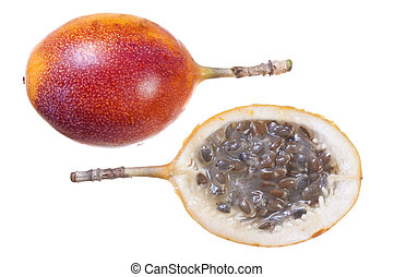 Granadilla isolated on white - Closeup of fresh ripe whole...