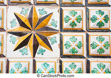 Sicilian craftsmanship - Close-up view of a eight point star...