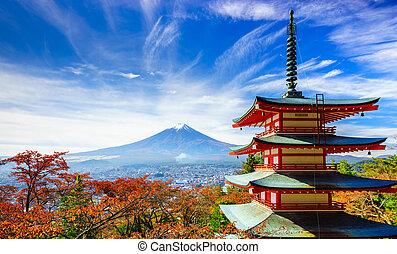 Mt. Fuji with Chureito Pagoda, Fujiyoshida, Japan - Mt. Fuji...