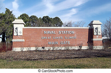 Great Lakes Naval Station Sign - Great Lakes Naval Air...
