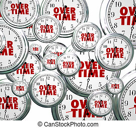 Overtime Word Clocks Flying By Extra Added Late Work Job -...