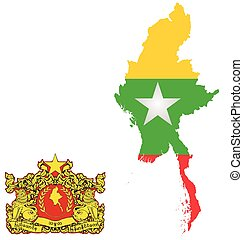 Burma Flag - Flag and state seal of the Republic of the...