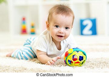 嬰孩, 男孩, 室內, 玩, 玩具