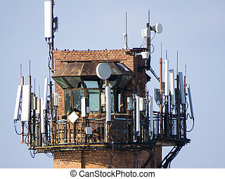 Antennas of cellular communication are located on a big...