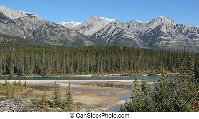 Mountain landscape Alberta - View of mountains and the Bow...