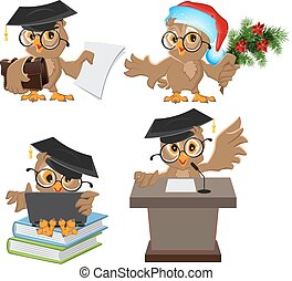 Set owl in mortarboard. Illustration in vector format