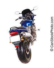 Blue sport motorbike Back view Isolated on the white...