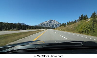 Driving towards mountain. Alberta. - Driving on Trans Canada...