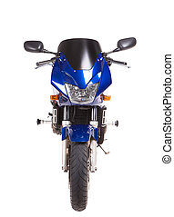 Blue sport motorbike Front view Isolated on the white...