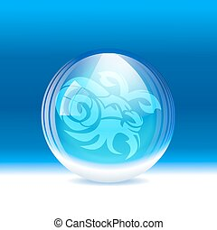Vector snow globe - A vector illustration of a transparent...