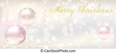 Christmas banner with shiny christmas baubles
