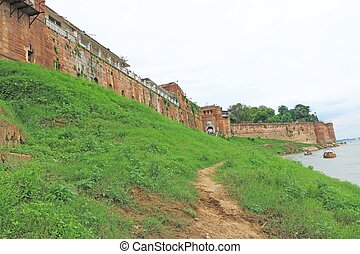 fort by the river allahabad india - majestic fort by a river...
