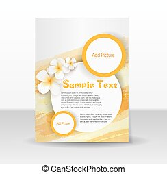 Flyer template with frangipani flowers