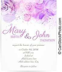 Wedding invitation with abstract roses - Wedding invitation...