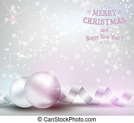 Christmas background with ribbons and shiny christmas baubles