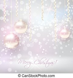 Christmas background with shiny christmas baubles