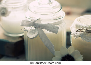 Candles - Photo with 3 white candles on wood