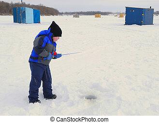 Little Boy Ice Fishing - A little boy ice fishing in winter