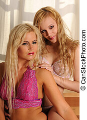 Blondes - Two beautiful blondes in lingerie by a window