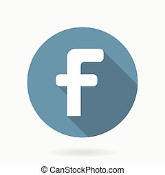 Letter F Vector Icon With Flat Design - White letter F...