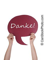 ドイツ語,  danke,  balloon, スピーチ, 赤
