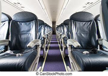 Airplane - Dark Blue Seats in a Empty Jet Airplane