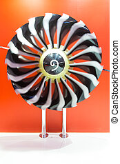 Blades of a jet engine is turning