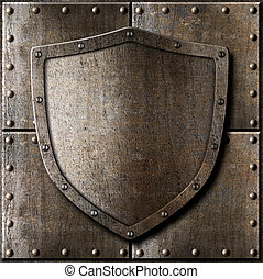old metal shield over armor background with rivets