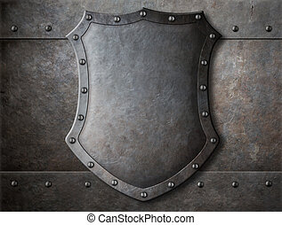 old medieval coat of arms shield over armour background with...