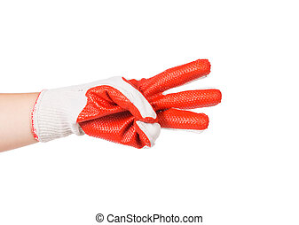 Rubber protective glove Isolated on a white background