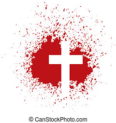 bloody cross - illustration with bloody cross on white...