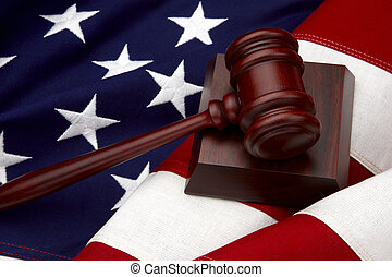 Gavel and American Flag still life - Close up shot of wooden...