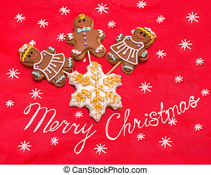 Christmas gingerbread man and woman cookies