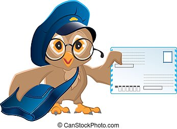 Owl postman brought a letter. Illustration in vector format