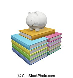 Piggy Bank on a Pile Stack of Books - This 3D illustration...