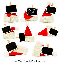 Christmas Cap - Santa Cap collection with blackboard sign...