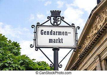 gendarmenmarkt sign in berlin near friedrichstrasse in...