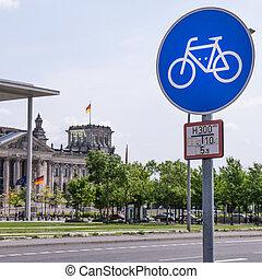 bike city berlin, bicycle sign, bundestag building