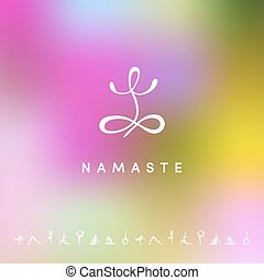 Blured background with yoga logo - Vector illustration of...
