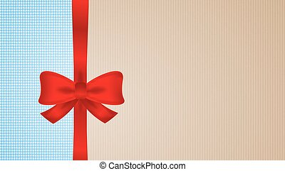 brown and blue cardboard with red bow